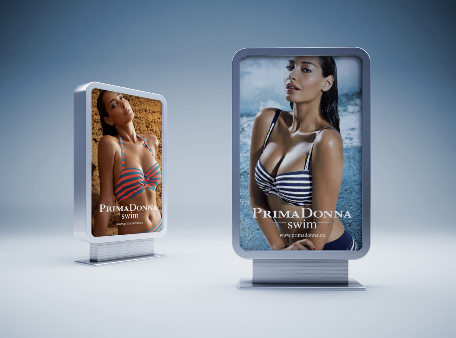 Billboards mockups with photography of PrimaDonna Swim