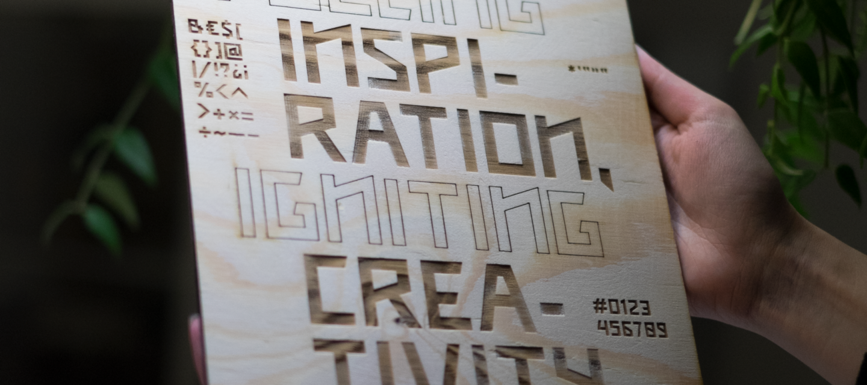 Stookplaats typeface engraved in wood