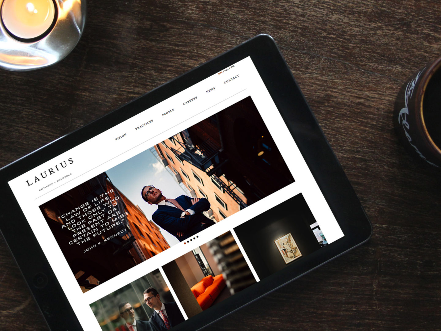 Laurius website on tablet